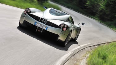 Pagani Huayra in the Italian hills rear view