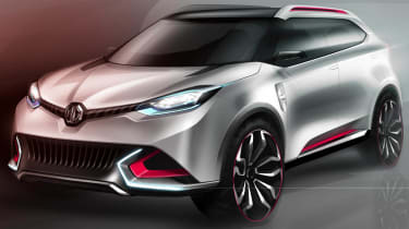 MG CS SUV concept white and red