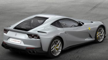 Ferrari 812 Superfast configured silver 1 rear