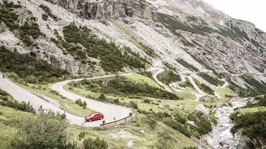 Alfa Romeo Stelvio (side) on the Stelvio Pass