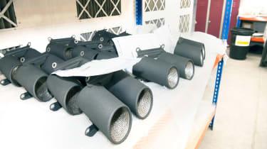 Exhaust tips coated in Zircotec's black ceramic finish