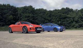 Subaru WRX STI v Jaguar F-type V6 S: drag race
