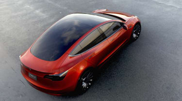 Tesla Model 3 red rear