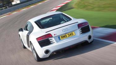 Audi R8 V8 white coupe