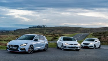 Hyundai i30N group test (Golf GTI and Peugeot 308 GTI) - spread