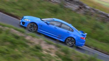 Jaguar XFR-S blue side profile