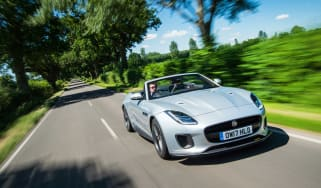 Jaguar F-type 400 Sport front three quarters tracking