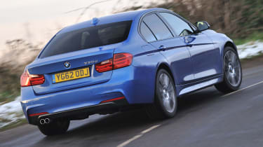 2013 BMW 330d M Sport blue rear