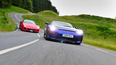 LFA v 599 GTO - driving