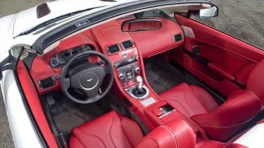 Aston Martin V12 Vantage Roadster red leather interior dashboard