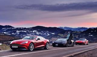 Ferrari F12 v Lamborghini Aventador and Aston Martin V12 Vanquish