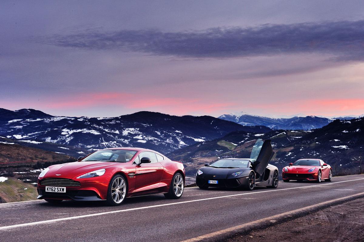 Ferrari F12 V Lamborghini Aventador And Aston Martin V12 Vanquish Introduction Evo