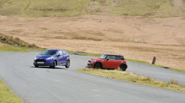 Mini Cooper S JCW chasing the Ford Fiesta ST