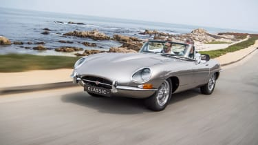 Jaguar E-type Zero - driving front quarter