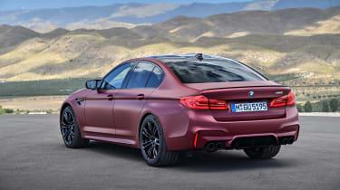 BMW M5 F90 - Plum matte rear quarter