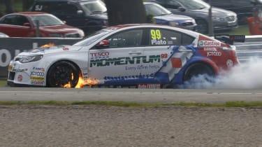BTCC Jason Plato MG6 on fire