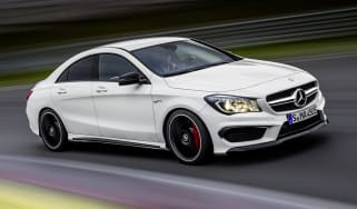 Mercedes-Benz CLA45 AMG white on track