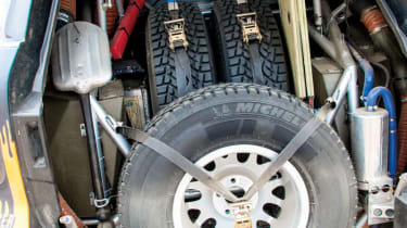 multiple spare tyres are a necessity on stages as long as 368 miles.