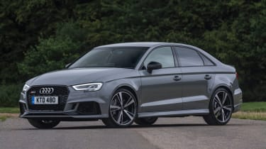 Audi RS3 saloon (facelift) UK press nardo grey - front 3/4 static
