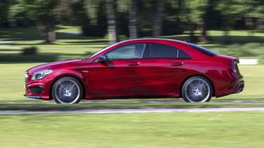 2013 Mercedes CLA45 AMG red side profile