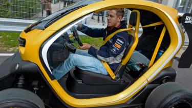Sebastian Vettel drives Renault Twizy F1