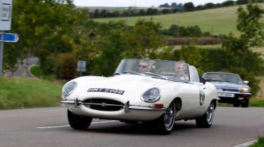Jaguar 75 celebration drive to Goodwood