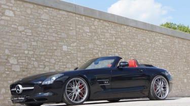Mercedes SLS AMG Roadster Senner side profile roof down