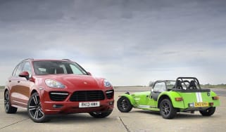 Porsche Cayenne Turbo S v Caterham 7 Supersport