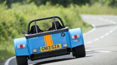 New Caterham 620R blue and orange rear