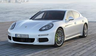 New Porsche Panamera S E-Hybrid white front view