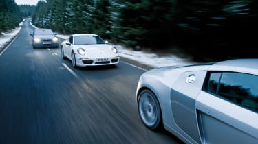 Porsche 911 vs Audi R8 and BMW M5