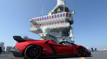 Lamborghini Veneno Roadster aircraft carrier