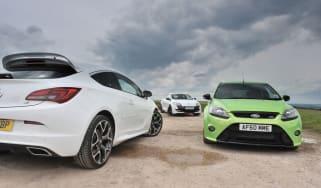 Vauxhall Astra VXR vs Renaultsport Megane 265 vs Ford Focus RS