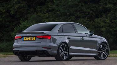 Audi RS3 saloon (facelift) UK press nardo grey - rear 3/4 static