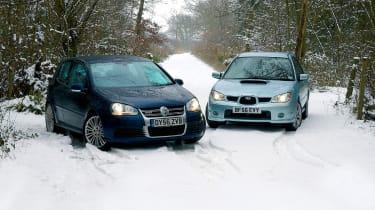 Subaru Impreza WRX Sport Wagon and VW Golf R32