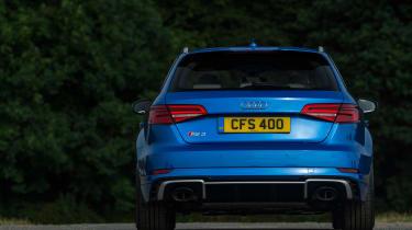 Audi RS3 hatch (facelift) UK press blue - rear static