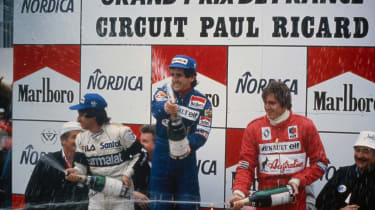 1983 French Grand Prix podium. From left: Nelson Piquet, Alain Prost, Eddie Cheever