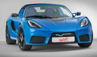 Detroit Electric sports car Lotus Elise blue front