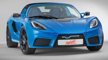 Detroit Electric sports car Lotus Elise blue front