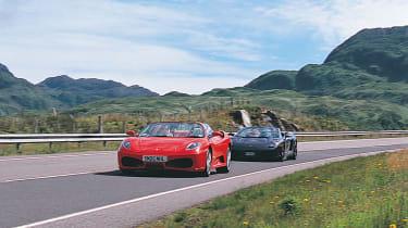 Ferrari 430 Spider followed by Lambo Spyder