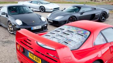 Ferrari F40 v Jaguar XJ220 v Porsche 911 GT2 RS v Noble M600