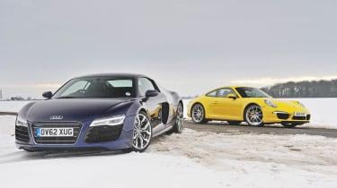 evo Magazine: April 2013 Audi R8 V10 Porsche 911 Powerkit