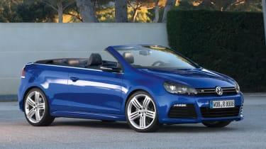 VW Golf R Cabriolet blue front