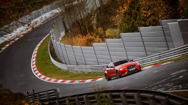 Jaguar XE SV Project 8 at the Nurburgring – front quarter
