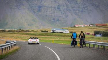 Mazda MX-5 in Iceland - bikers