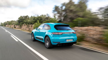 Porsche Macan S driven - Miami Blue rear quarter