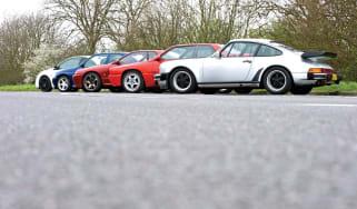 Escort Cosworth vs 911 Turbo, Skyline GT-R, Megane R26.R and Maserati Ghibli