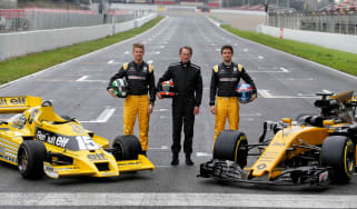 Nico Hülkenberg, Jean-Pierre Jabouille, Jolyon Palmer with the RS01 and RS17