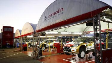 WRC Spain Citroen service park