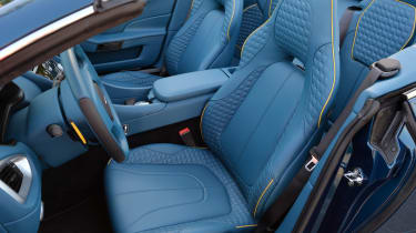 Aston Martin Vanquish Volante blue quilted leather sports seats